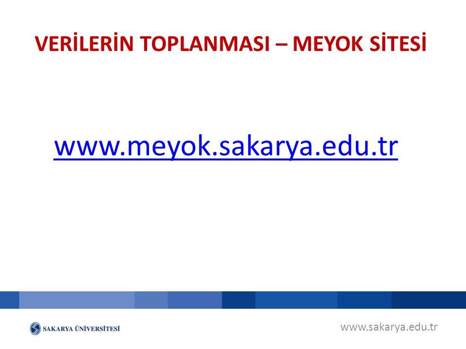 www.sakarya.edu.tr www.meyok.sakarya.edu.tr VERİLERİN TOPLANMASI – MEYOK SİTESİ