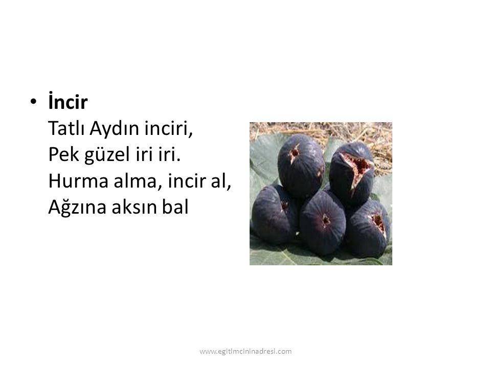 İncir Tatlı Aydın inciri, Pek güzel iri iri. Hurma alma, incir al, Ağzına aksın bal www.egitimcininadresi.com