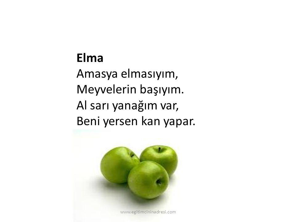 Elma Amasya elmasıyım, Meyvelerin başıyım. Al sarı yanağım var, Beni yersen kan yapar. www.egitimcininadresi.com