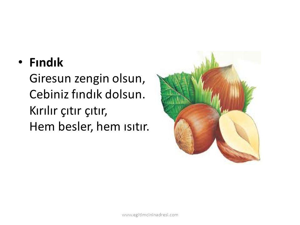 Fındık Giresun zengin olsun, Cebiniz fındık dolsun. Kırılır çıtır çıtır, Hem besler, hem ısıtır. www.egitimcininadresi.com