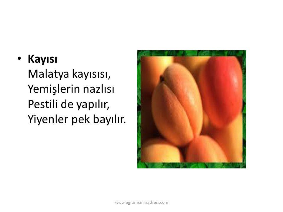 Kayısı Malatya kayısısı, Yemişlerin nazlısı Pestili de yapılır, Yiyenler pek bayılır. www.egitimcininadresi.com