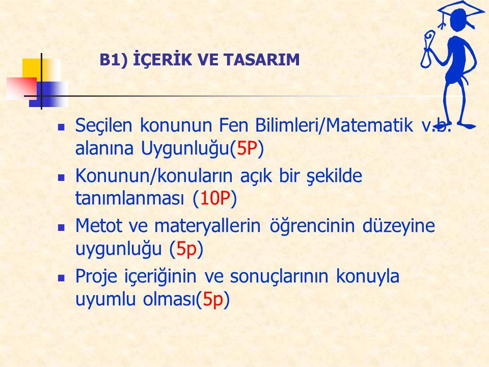 Seçilen konunun Fen Bilimleri/Matematik v.b. alanına Uygunluğu(5P) Konunun/konuların açık bir şekilde tanımlanması (10P) Metot ve materyallerin öğrenc