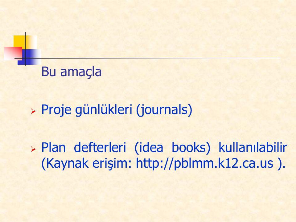 Bu amaçla  Proje günlükleri (journals)  Plan defterleri (idea books) kullanılabilir (Kaynak erişim: http://pblmm.k12.ca.us ).