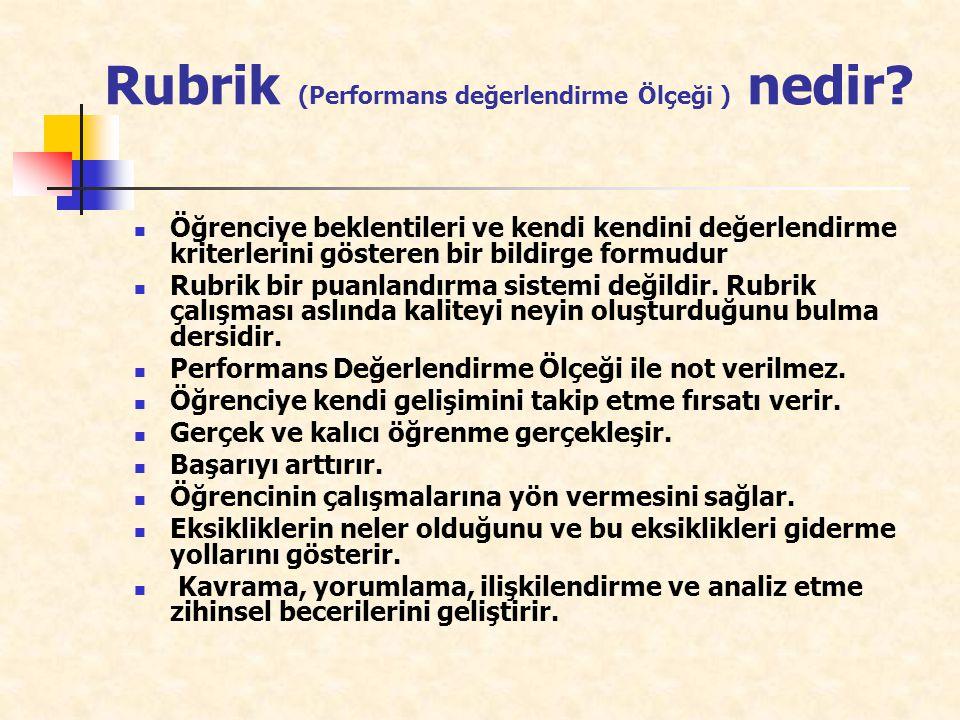 Rubrik (Performans değerlendirme Ölçeği ) nedir? Öğrenciye beklentileri ve kendi kendini değerlendirme kriterlerini gösteren bir bildirge formudur Rub