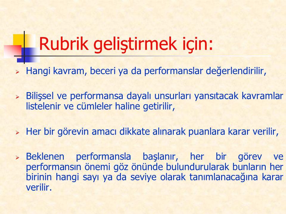 Rubrik geliştirmek için:  Hangi kavram, beceri ya da performanslar değerlendirilir,  Bilişsel ve performansa dayalı unsurları yansıtacak kavramlar l