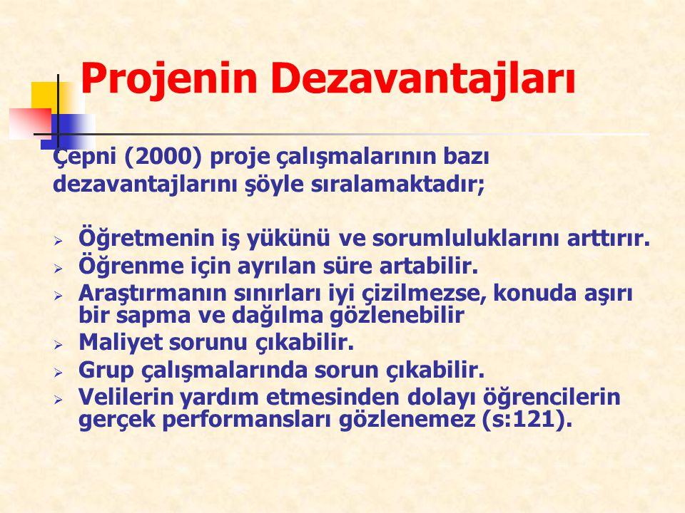 Projenin Dezavantajları Çepni (2000) proje çalışmalarının bazı dezavantajlarını şöyle sıralamaktadır;  Öğretmenin iş yükünü ve sorumluluklarını arttı