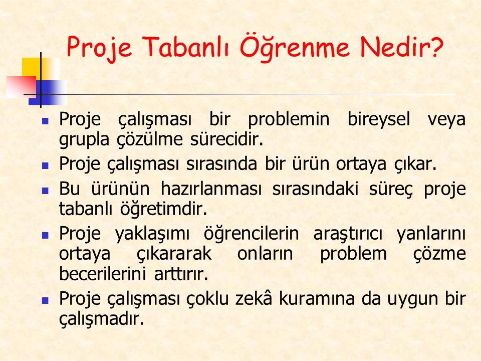 Proje çalışması bir problemin bireysel veya grupla çözülme sürecidir. Proje çalışması sırasında bir ürün ortaya çıkar. Bu ürünün hazırlanması sırasınd