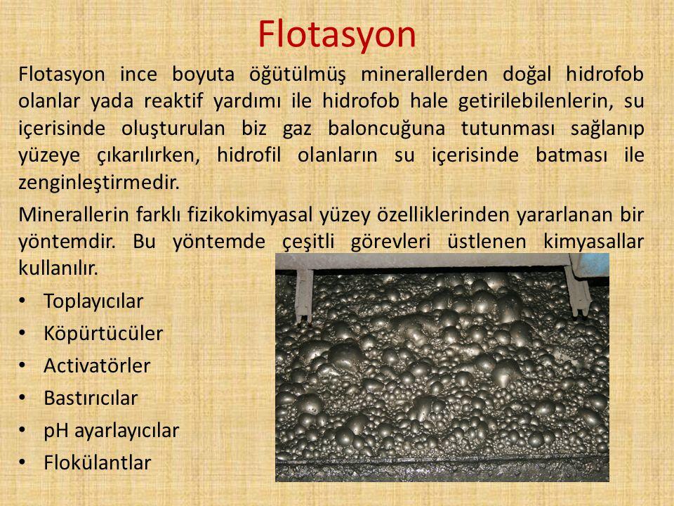 Flotasyon Flotasyon ince boyuta öğütülmüş minerallerden doğal hidrofob olanlar yada reaktif yardımı ile hidrofob hale getirilebilenlerin, su içerisind