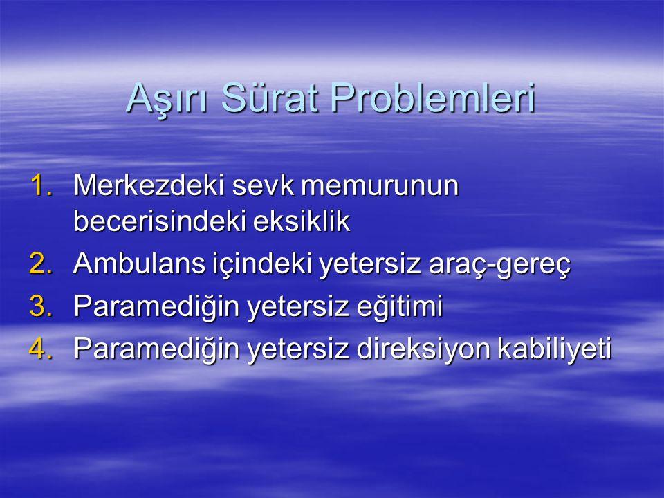 Aşırı Sürat Problemleri 1.Merkezdeki sevk memurunun becerisindeki eksiklik 2.Ambulans içindeki yetersiz araç-gereç 3.Paramediğin yetersiz eğitimi 4.Pa