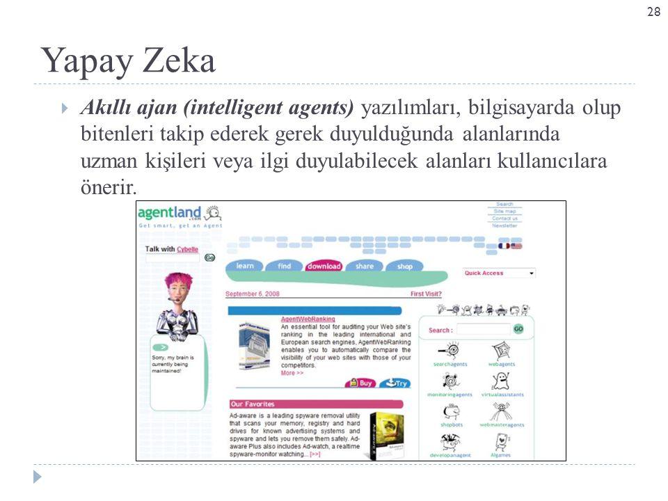 Yapay Zeka  Akıllı ajan (intelligent agents) yazılımları, bilgisayarda olup bitenleri takip ederek gerek duyulduğunda alanlarında uzman kişileri veya ilgi duyulabilecek alanları kullanıcılara önerir.