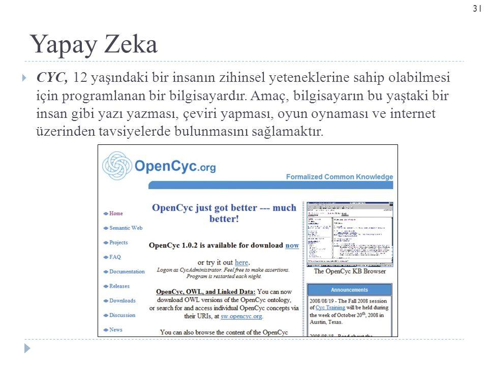 Yapay Zeka  CYC, 12 yaşındaki bir insanın zihinsel yeteneklerine sahip olabilmesi için programlanan bir bilgisayardır.