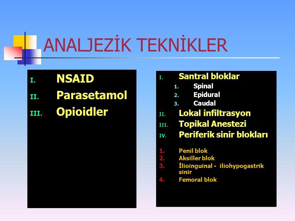 ANALJEZİK TEKNİKLER I. NSAID II. Parasetamol III. Opioidler I. Santral bloklar 1. Spinal 2. Epidural 3. Caudal II. Lokal infiltrasyon III. Topikal Ane