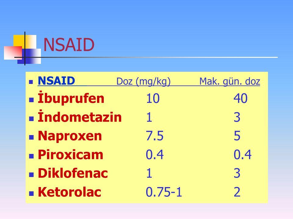 NSAID NSAID Doz (mg/kg) Mak. gün. doz İbuprufen 1040 İndometazin13 Naproxen7.55 Piroxicam0.40.4 Diklofenac13 Ketorolac0.75-12