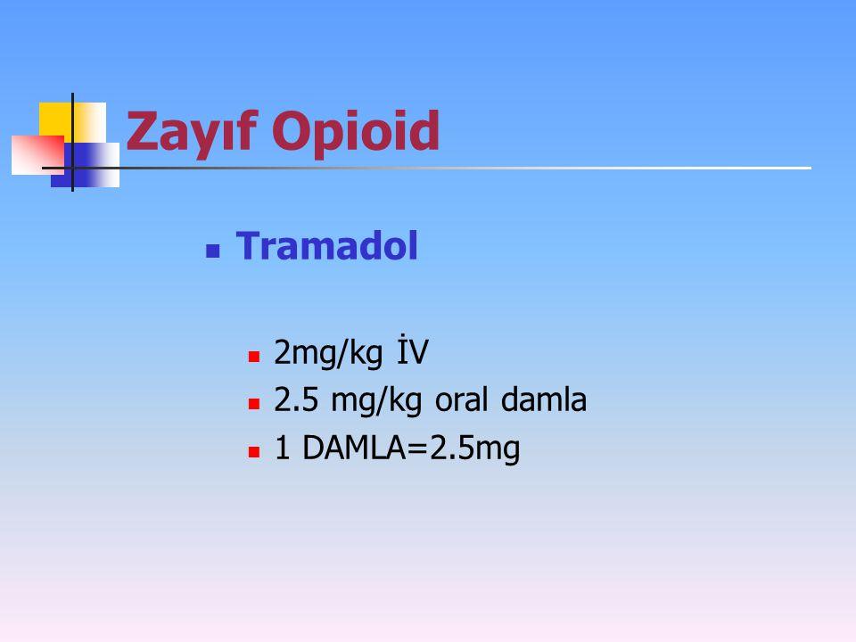 Zayıf Opioid Tramadol 2mg/kg İV 2.5 mg/kg oral damla 1 DAMLA=2.5mg