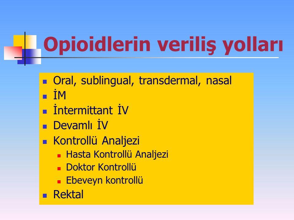 Opioidlerin veriliş yolları Oral, sublingual, transdermal, nasal İM İntermittant İV Devamlı İV Kontrollü Analjezi Hasta Kontrollü Analjezi Doktor Kont