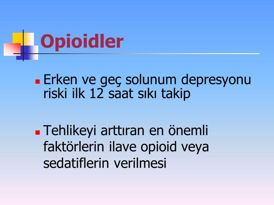 Opioidler Erken ve geç solunum depresyonu riski ilk 12 saat sıkı takip Tehlikeyi arttıran en önemli faktörlerin ilave opioid veya sedatiflerin verilme