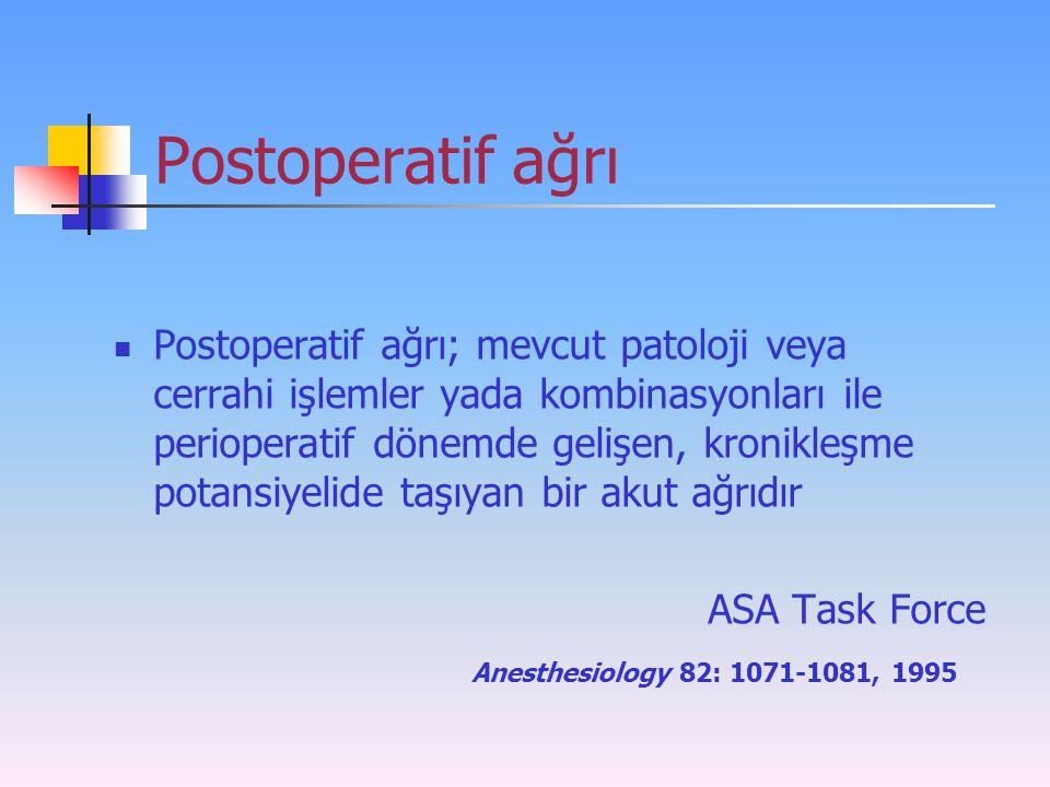 Postoperatif ağrı Postoperatif ağrı; mevcut patoloji veya cerrahi işlemler yada kombinasyonları ile perioperatif dönemde gelişen, kronikleşme potansiy