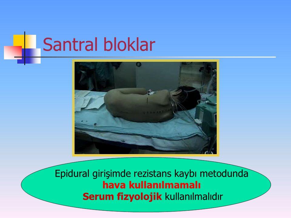 Santral bloklar Epidural girişimde rezistans kaybı metodunda hava kullanılmamalı Serum fizyolojik kullanılmalıdır