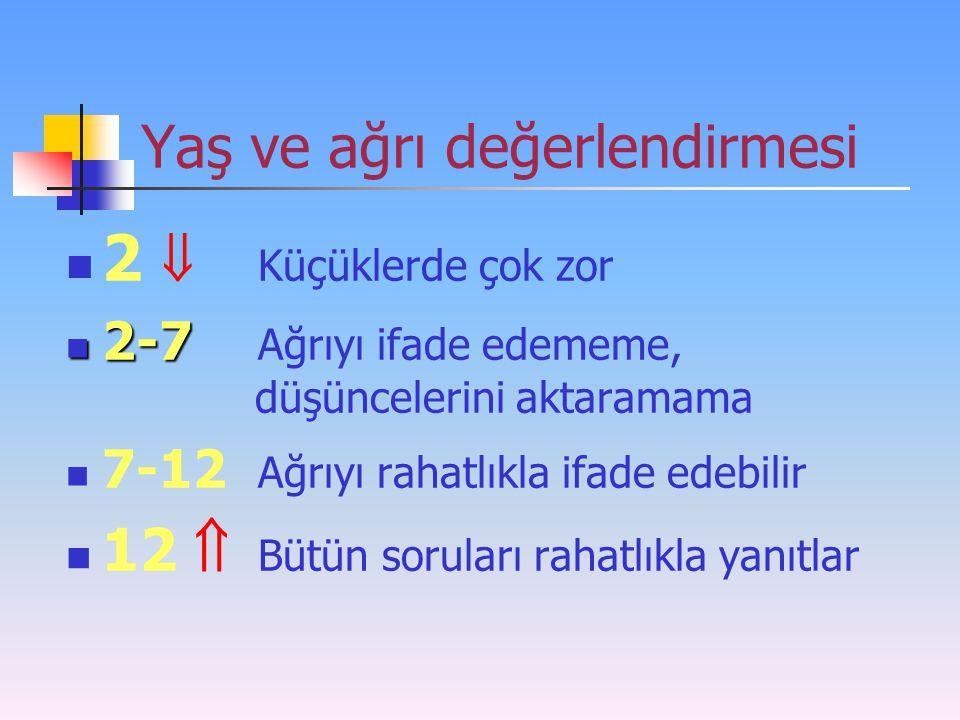 Yaş ve ağrı değerlendirmesi 2  Küçüklerde çok zor 2-7 2-7 Ağrıyı ifade edememe, düşüncelerini aktaramama 7-12 Ağrıyı rahatlıkla ifade edebilir 12  B