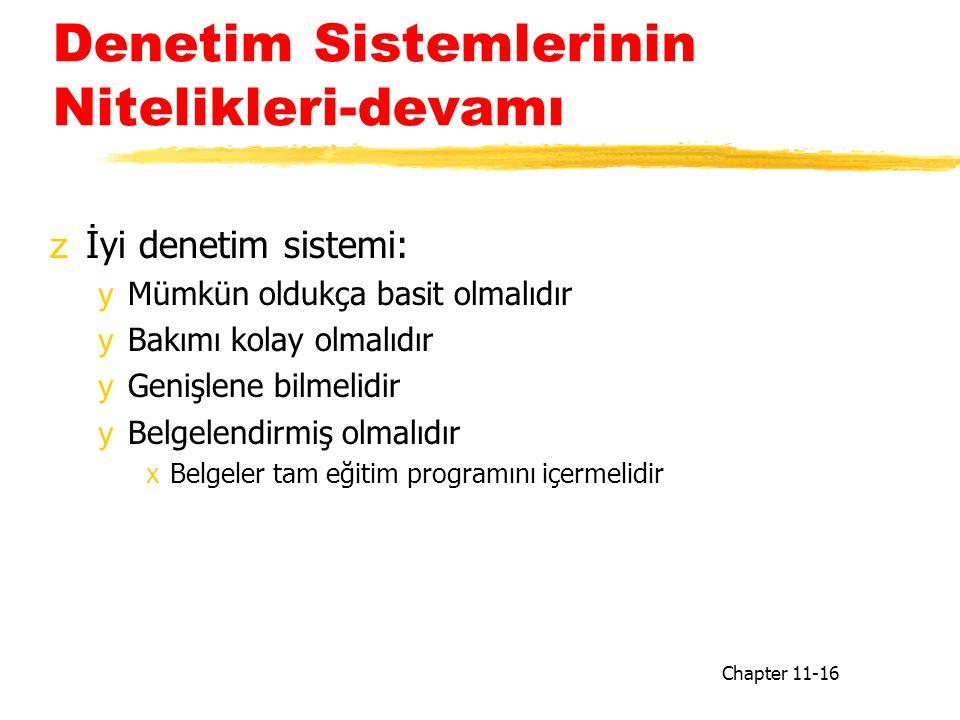 Denetim Sistemlerinin Nitelikleri-devamı zİyi denetim sistemi: yMümkün oldukça basit olmalıdır yBakımı kolay olmalıdır yGenişlene bilmelidir yBelgelendirmiş olmalıdır xBelgeler tam eğitim programını içermelidir Chapter 11-16