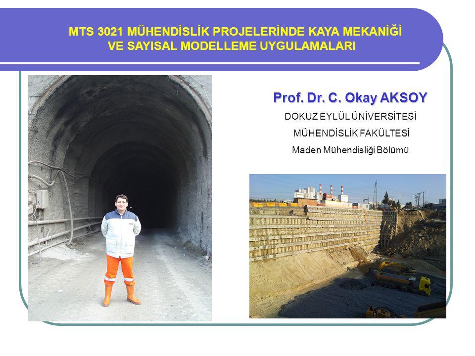 Prof. Dr. Turgay ONARGAN MTS 3021 MÜHENDİSLİK PROJELERİNDE KAYA MEKANİĞİ VE SAYISAL MODELLEME UYGULAMALARI Prof. Dr. C. Okay AKSOY DOKUZ EYLÜL ÜNİVERS