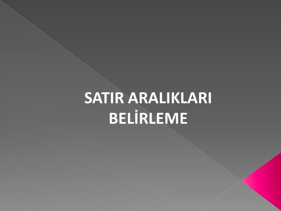 SATIR ARALIKLARI BELİRLEME