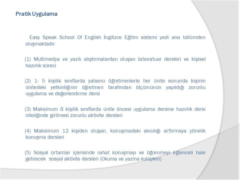 Pratik Uygulama Easy Speak School Of English İngilizce Eğitim sistemi yedi ana bölümden oluşmaktadır: (1) Multimedya ve yazılı alıştırmalardan oluşan laboratuar dersleri ve kişisel hazırlık süreci (2) 1- 5 kişilik sınıflarda yabancı öğretmenlerle her ünite sonunda kişinin ünitedeki yetkinliğinin öğretmen tarafından ölçümünün yapıldığı zorunlu uygulama ve değerlendirme dersi (3) Maksimum 8 kişilik sınıflarda ünite öncesi uygulama dersine hazırlık dersi niteliğinde girilmesi zorunlu aktivite dersleri (4) Maksimum 12 kişiden oluşan, konuşmadaki akıcılığı arttırmaya yönelik konuşma dersleri (5) Sosyal ortamlar içerisinde rahat konuşmayı ve öğrenmeyi eğlenceli hale getirecek sosyal aktivite dersleri (Okuma ve yazma kulüpleri)