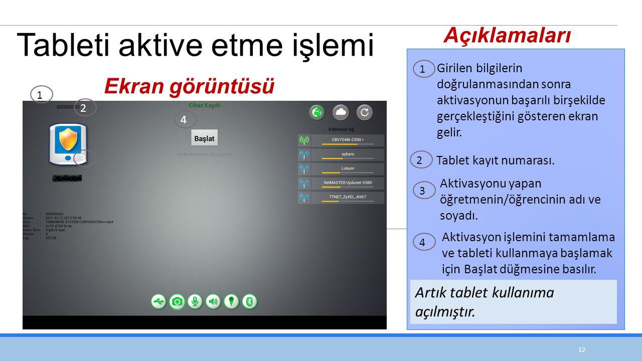 12 Girilen bilgilerin doğrulanmasından sonra aktivasyonun başarılı birşekilde gerçekleştiğini gösteren ekran gelir.