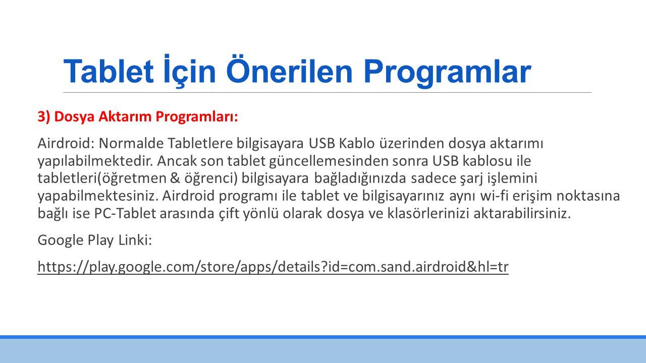 Tablet İçin Önerilen Programlar 3) Dosya Aktarım Programları: Airdroid: Normalde Tabletlere bilgisayara USB Kablo üzerinden dosya aktarımı yapılabilmektedir.