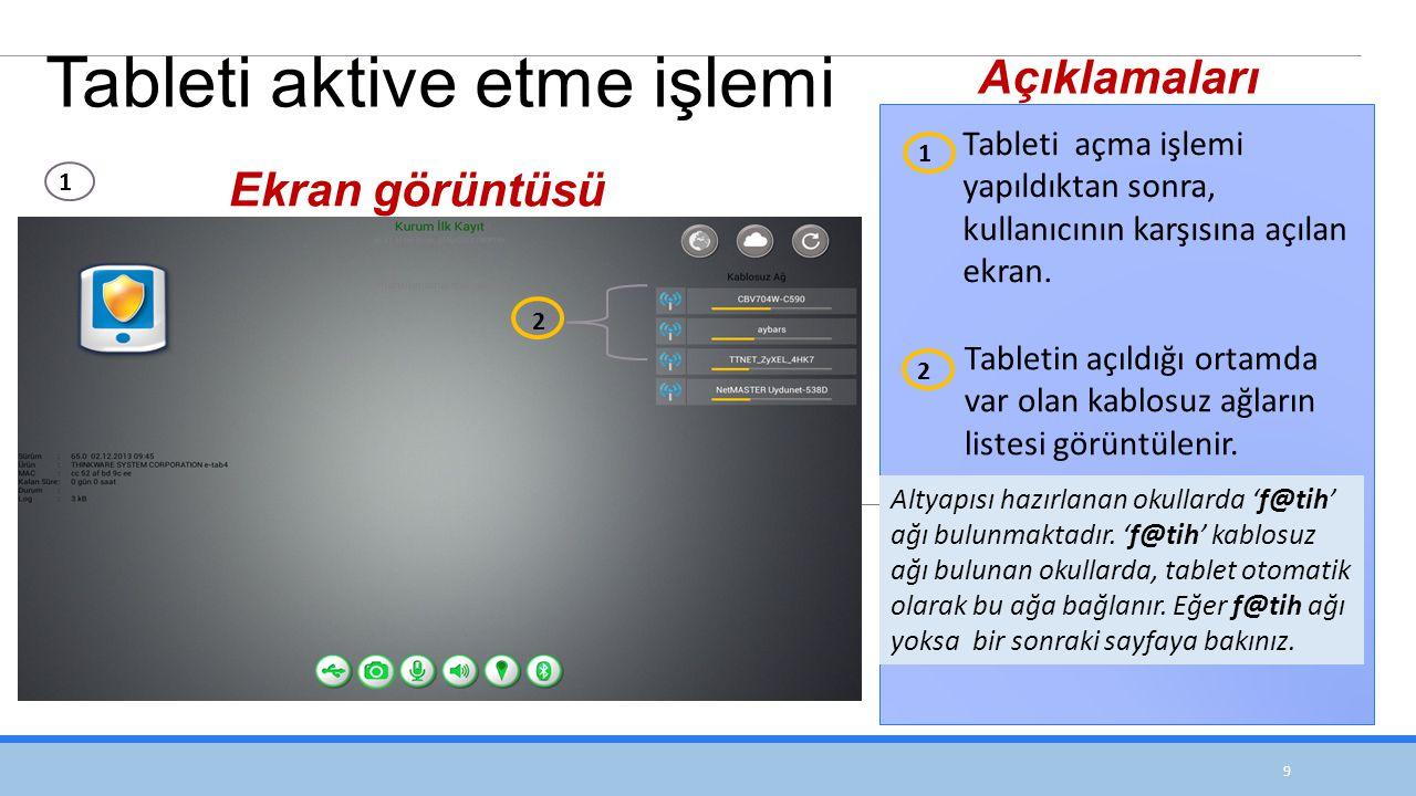 9 Tableti açma işlemi yapıldıktan sonra, kullanıcının karşısına açılan ekran.