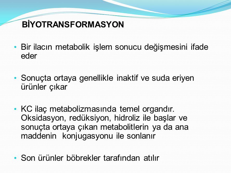 BİYOTRANSFORMASYON Bir ilacın metabolik işlem sonucu değişmesini ifade eder Sonuçta ortaya genellikle inaktif ve suda eriyen ürünler çıkar KC ilaç met