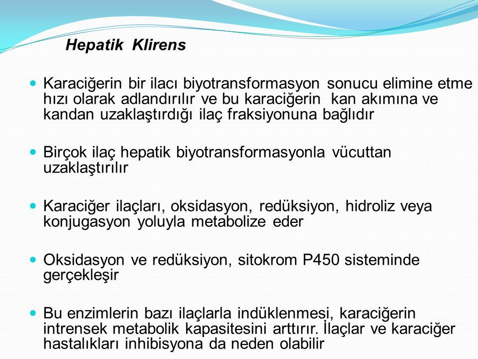 Hepatik Klirens Karaciğerin bir ilacı biyotransformasyon sonucu elimine etme hızı olarak adlandırılır ve bu karaciğerin kan akımına ve kandan uzaklaşt
