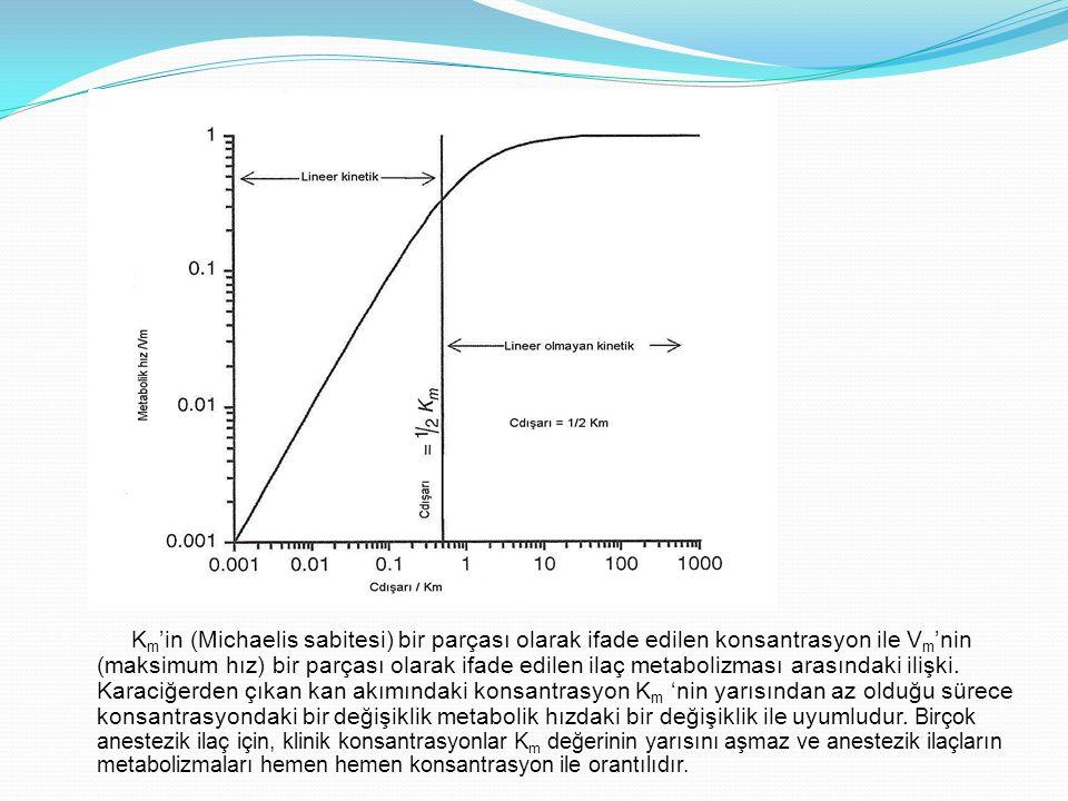 K m 'in (Michaelis sabitesi) bir parçası olarak ifade edilen konsantrasyon ile V m 'nin (maksimum hız) bir parçası olarak ifade edilen ilaç metabolizm