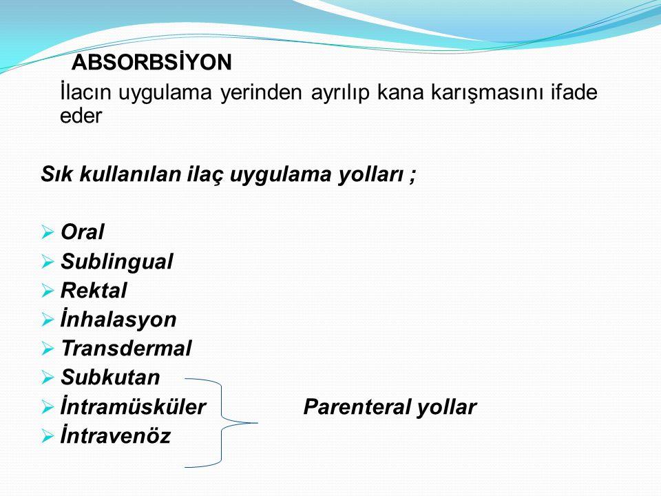 ABSORBSİYON İlacın uygulama yerinden ayrılıp kana karışmasını ifade eder Sık kullanılan ilaç uygulama yolları ;  Oral  Sublingual  Rektal  İnhalas