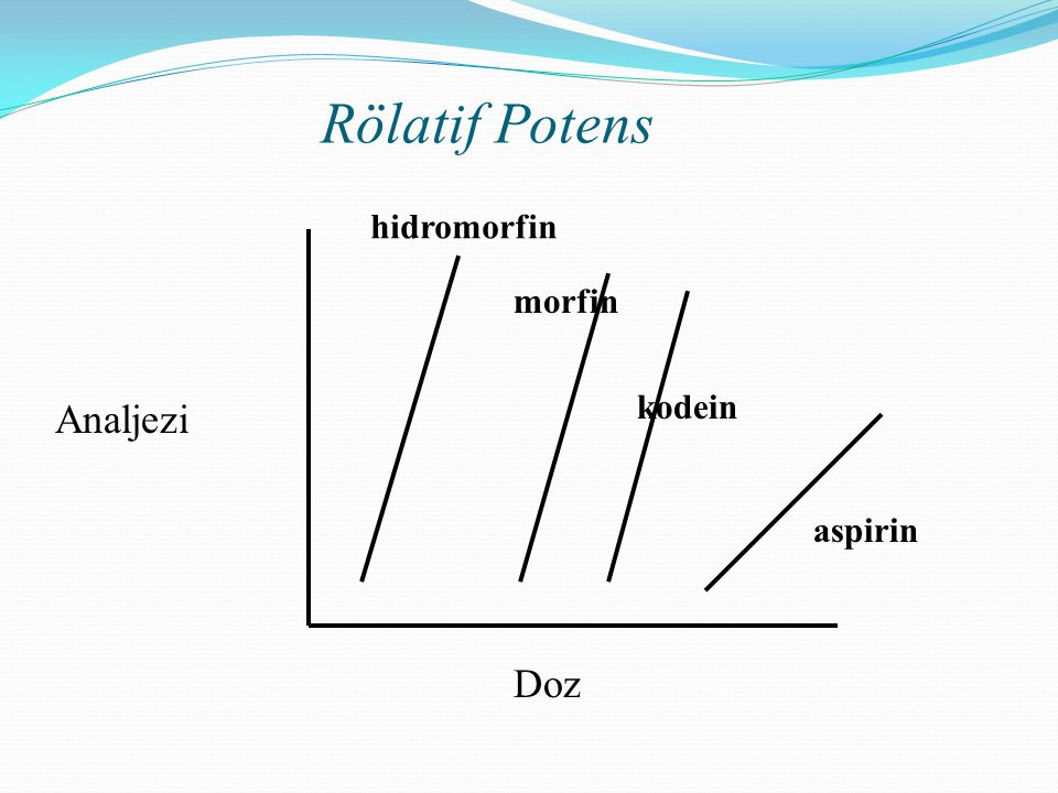 Analjezi Doz hidromorfin morfin kodein aspirin Rölatif Potens