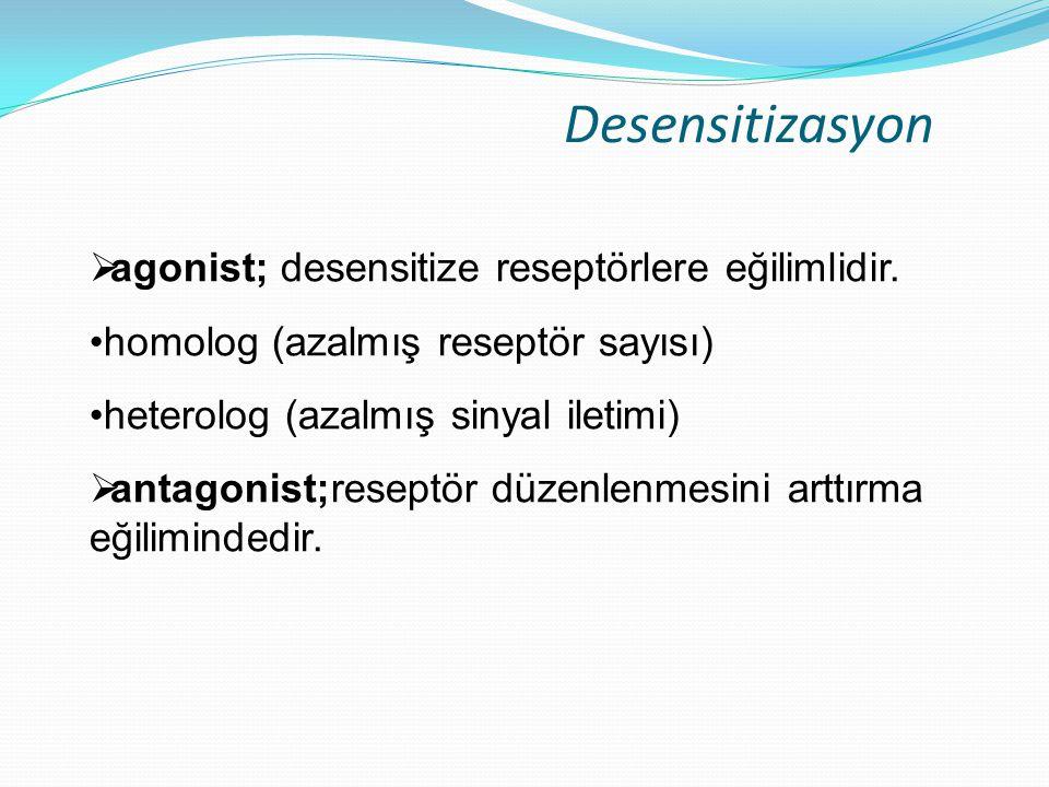 Desensitizasyon  agonist; desensitize reseptörlere eğilimlidir. homolog (azalmış reseptör sayısı) heterolog (azalmış sinyal iletimi)  antagonist;res