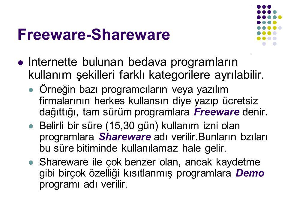 Freeware-Shareware Internette bulunan bedava programların kullanım şekilleri farklı kategorilere ayrılabilir. Örneğin bazı programcıların veya yazılım