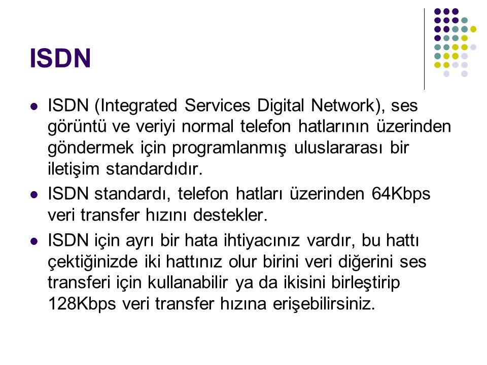 ISDN ISDN (Integrated Services Digital Network), ses görüntü ve veriyi normal telefon hatlarının üzerinden göndermek için programlanmış uluslararası b