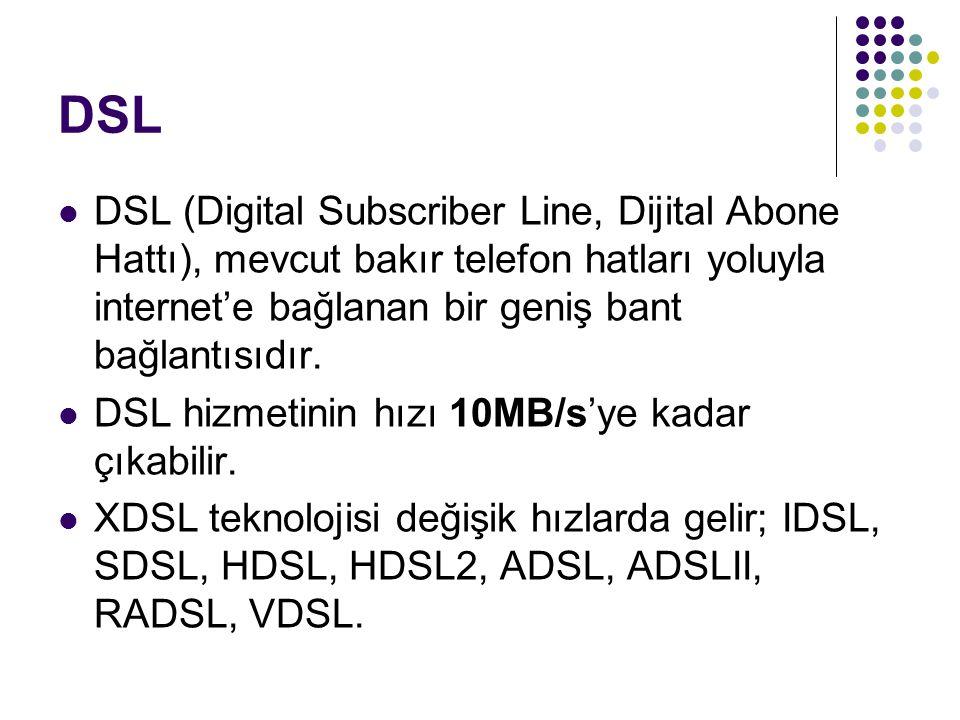 DSL DSL (Digital Subscriber Line, Dijital Abone Hattı), mevcut bakır telefon hatları yoluyla internet'e bağlanan bir geniş bant bağlantısıdır. DSL hiz