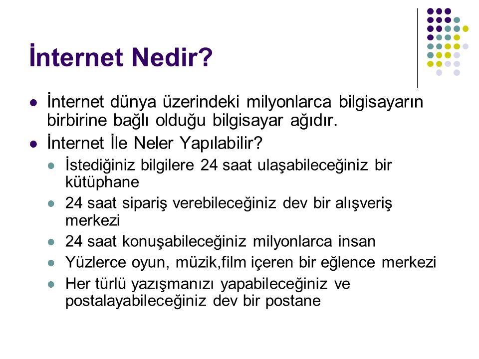 İnternet Nedir? İnternet dünya üzerindeki milyonlarca bilgisayarın birbirine bağlı olduğu bilgisayar ağıdır. İnternet İle Neler Yapılabilir? İstediğin