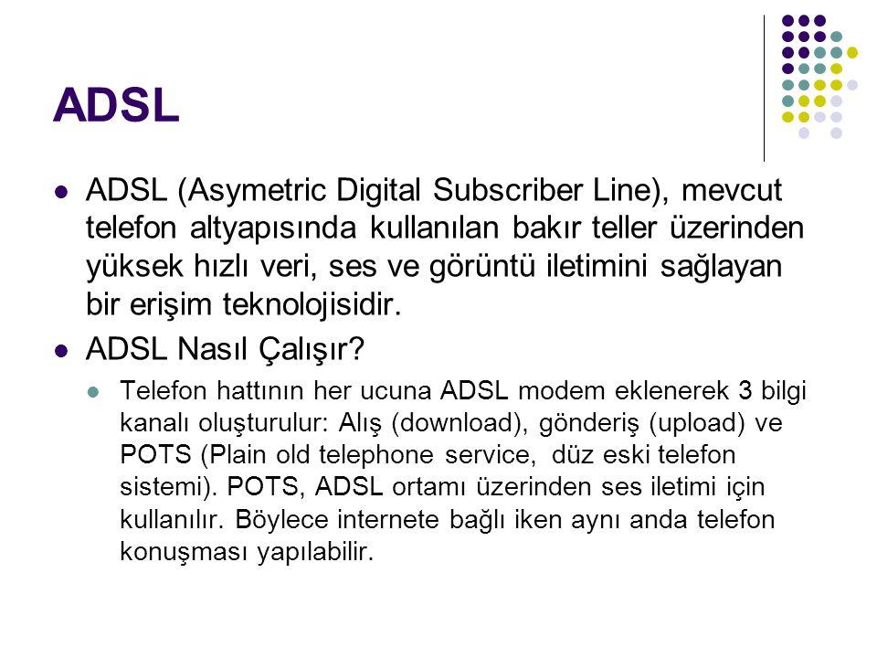 ADSL ADSL (Asymetric Digital Subscriber Line), mevcut telefon altyapısında kullanılan bakır teller üzerinden yüksek hızlı veri, ses ve görüntü iletimi