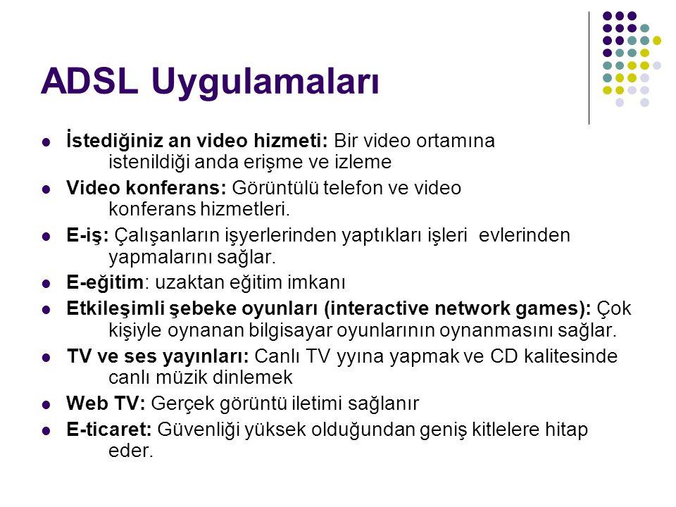 ADSL Uygulamaları İstediğiniz an video hizmeti: Bir video ortamına istenildiği anda erişme ve izleme Video konferans: Görüntülü telefon ve video konfe