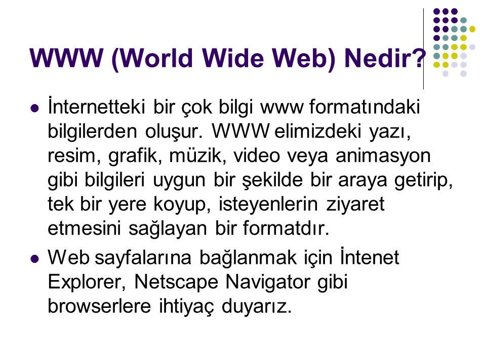WWW (World Wide Web) Nedir? İnternetteki bir çok bilgi www formatındaki bilgilerden oluşur. WWW elimizdeki yazı, resim, grafik, müzik, video veya anim