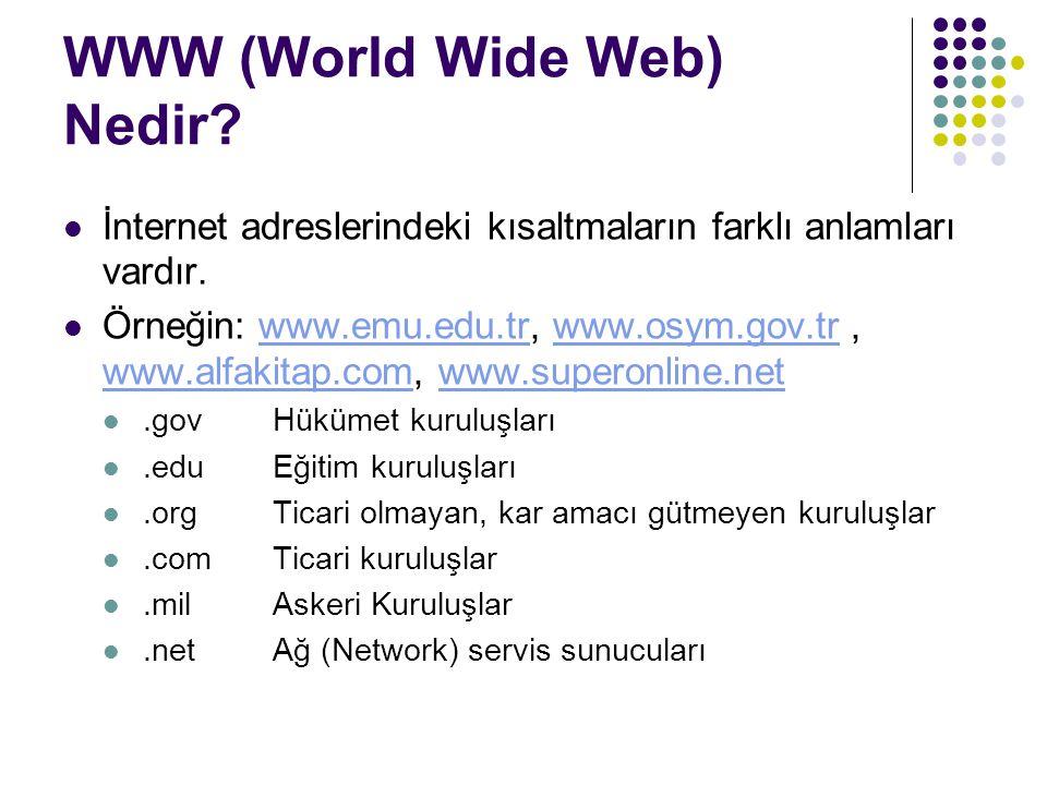WWW (World Wide Web) Nedir? İnternet adreslerindeki kısaltmaların farklı anlamları vardır. Örneğin: www.emu.edu.tr, www.osym.gov.tr, www.alfakitap.com