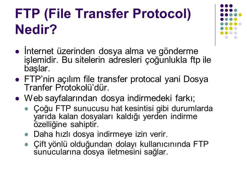 FTP (File Transfer Protocol) Nedir? İnternet üzerinden dosya alma ve gönderme işlemidir. Bu sitelerin adresleri çoğunlukla ftp ile başlar. FTP'nin açı