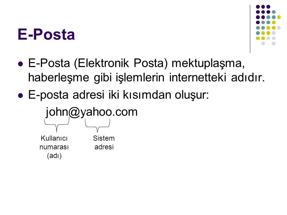 E-Posta E-Posta (Elektronik Posta) mektuplaşma, haberleşme gibi işlemlerin internetteki adıdır. E-posta adresi iki kısımdan oluşur: john@yahoo.com Kul