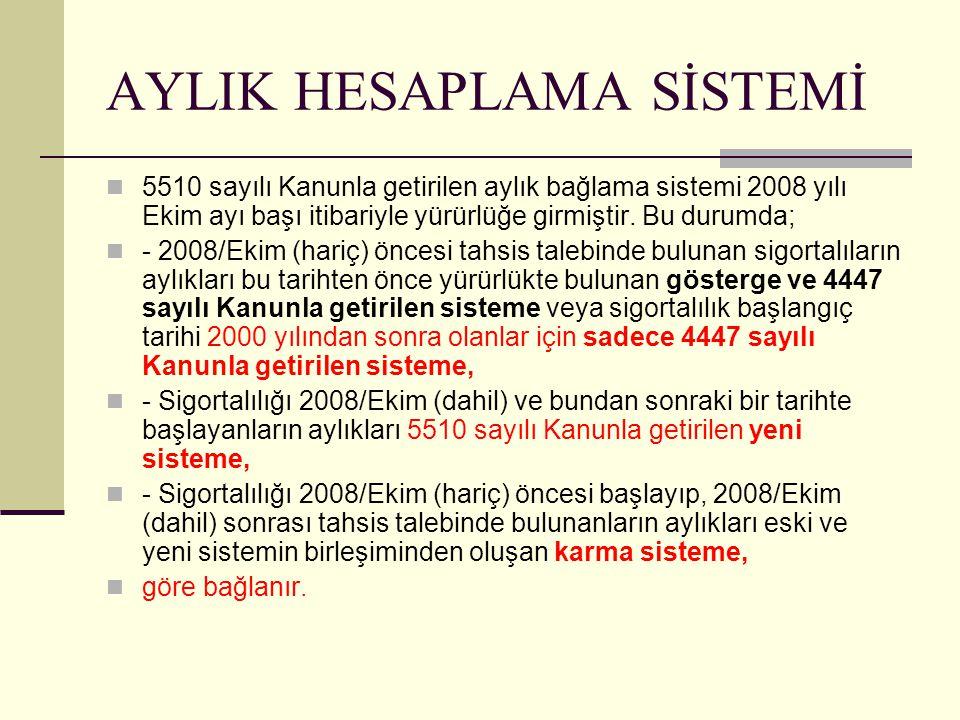 AYLIK HESAPLAMA SİSTEMİ 5510 sayılı Kanunla getirilen aylık bağlama sistemi 2008 yılı Ekim ayı başı itibariyle yürürlüğe girmiştir.