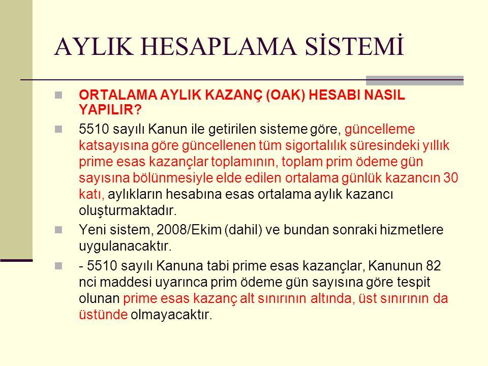 AYLIK HESAPLAMA SİSTEMİ ORTALAMA AYLIK KAZANÇ (OAK) HESABI NASIL YAPILIR.