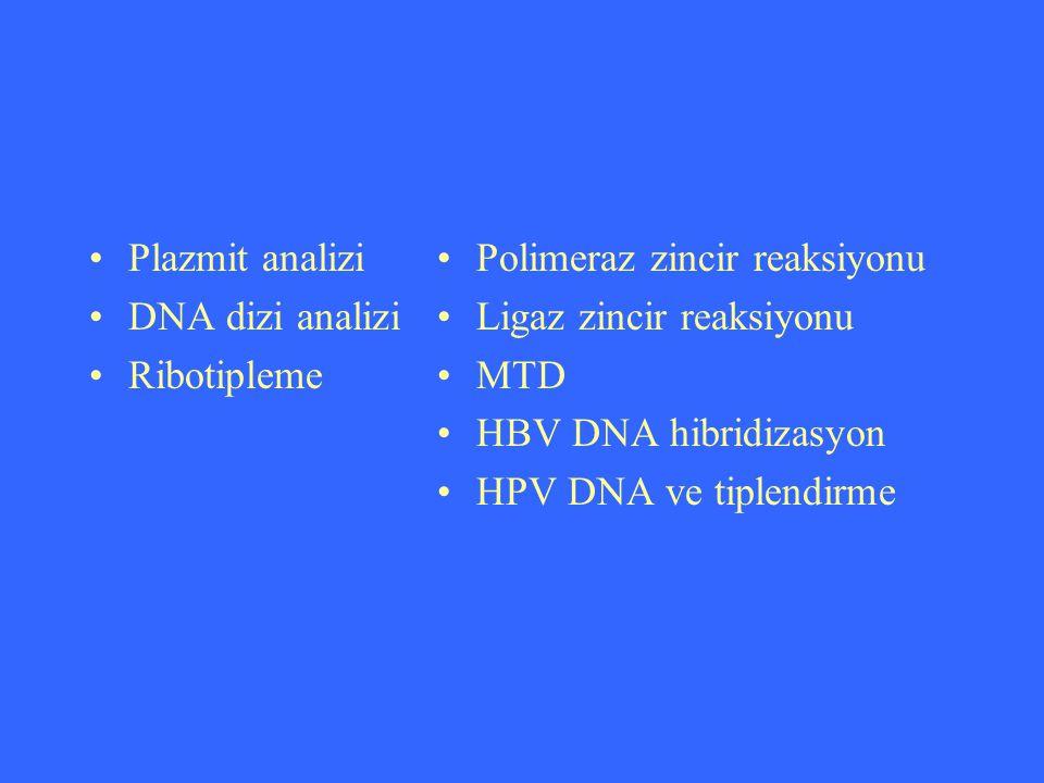 Plazmit analizi DNA dizi analizi Ribotipleme Polimeraz zincir reaksiyonu Ligaz zincir reaksiyonu MTD HBV DNA hibridizasyon HPV DNA ve tiplendirme