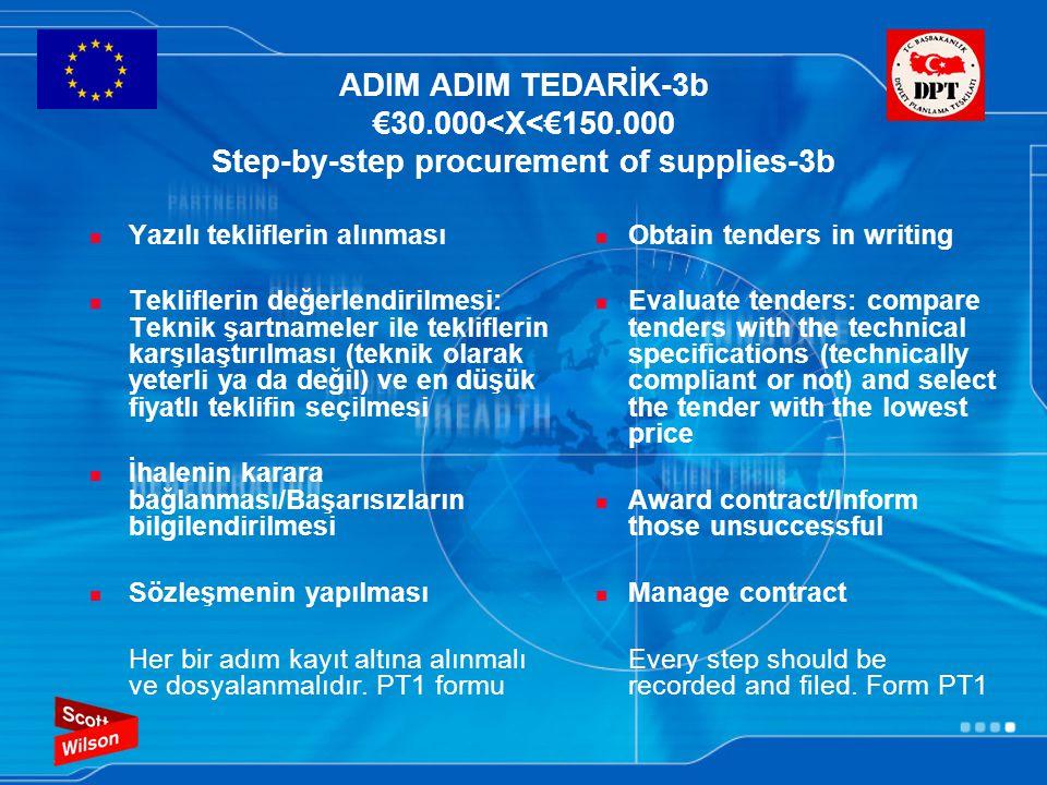 ADIM ADIM TEDARİK-3b €30.000<X<€150.000 Step-by-step procurement of supplies-3b Yazılı tekliflerin alınması Tekliflerin değerlendirilmesi: Teknik şart